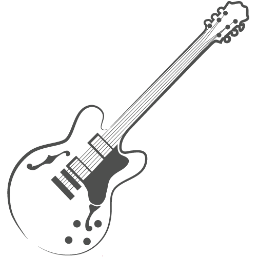 A hollow body guitar representing Blues genre of music