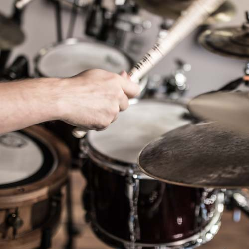 Studio drummer playing Afoxe Brazilian groove on drums