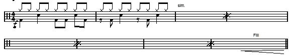 Example of drum groove notation at the beginning of a drum chart