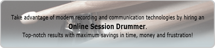 Drum sticks on a snare drum representing online session drummer banner.