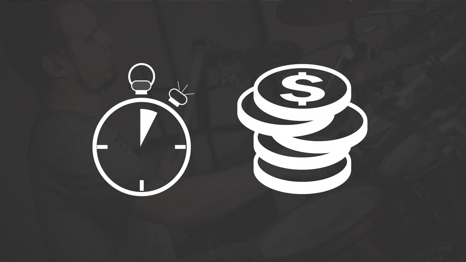 icons demonstrating time and money that could be saved y hiring a professional session drummer