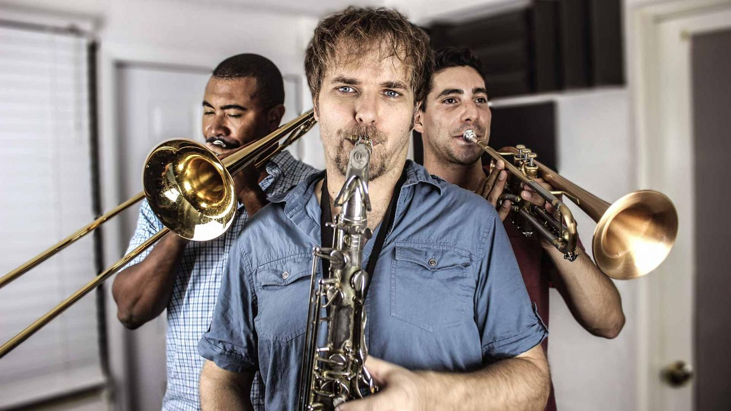 3-part horn section consisting of sax, trumpet and trombone which are available for online horn recordings